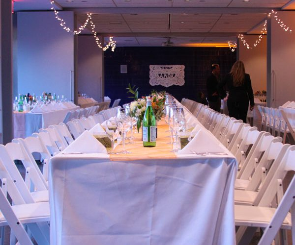 Intimate formal events can be accommodated in the Party Rooms.  Community seating works well in this space and is always great when we you want to stay warm.