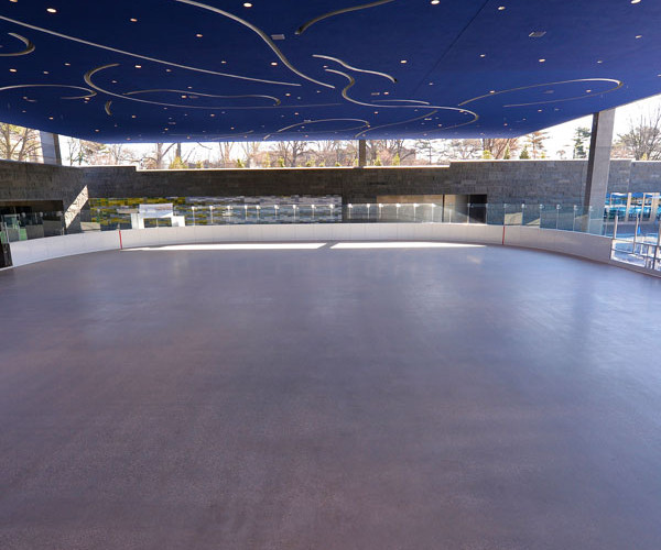 This area is most commonly used for Ice skating, hockey, curling and roller skating.  It can also be easily converted into a dance floor, intimate concert or gala space.  The green roof has a spectacular starlit ceiling that makes you feel like you are under the stars.