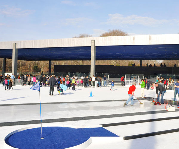 Whether you are looking to ice skate in the Winter or cool off in the splash pad in the summer, this open concept space has unlimited potential.  Whether it's a concert or an after party from a 5K, this is a unique space to celebrate with the masses.
