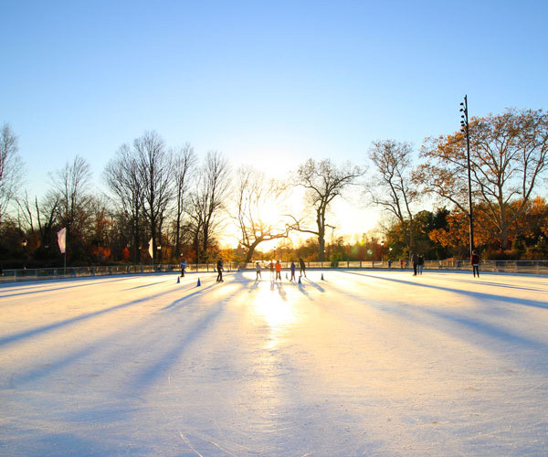 The Elliptical rink turns into an ice rink in the fall/winter season and is most commonly used for freelance skating.